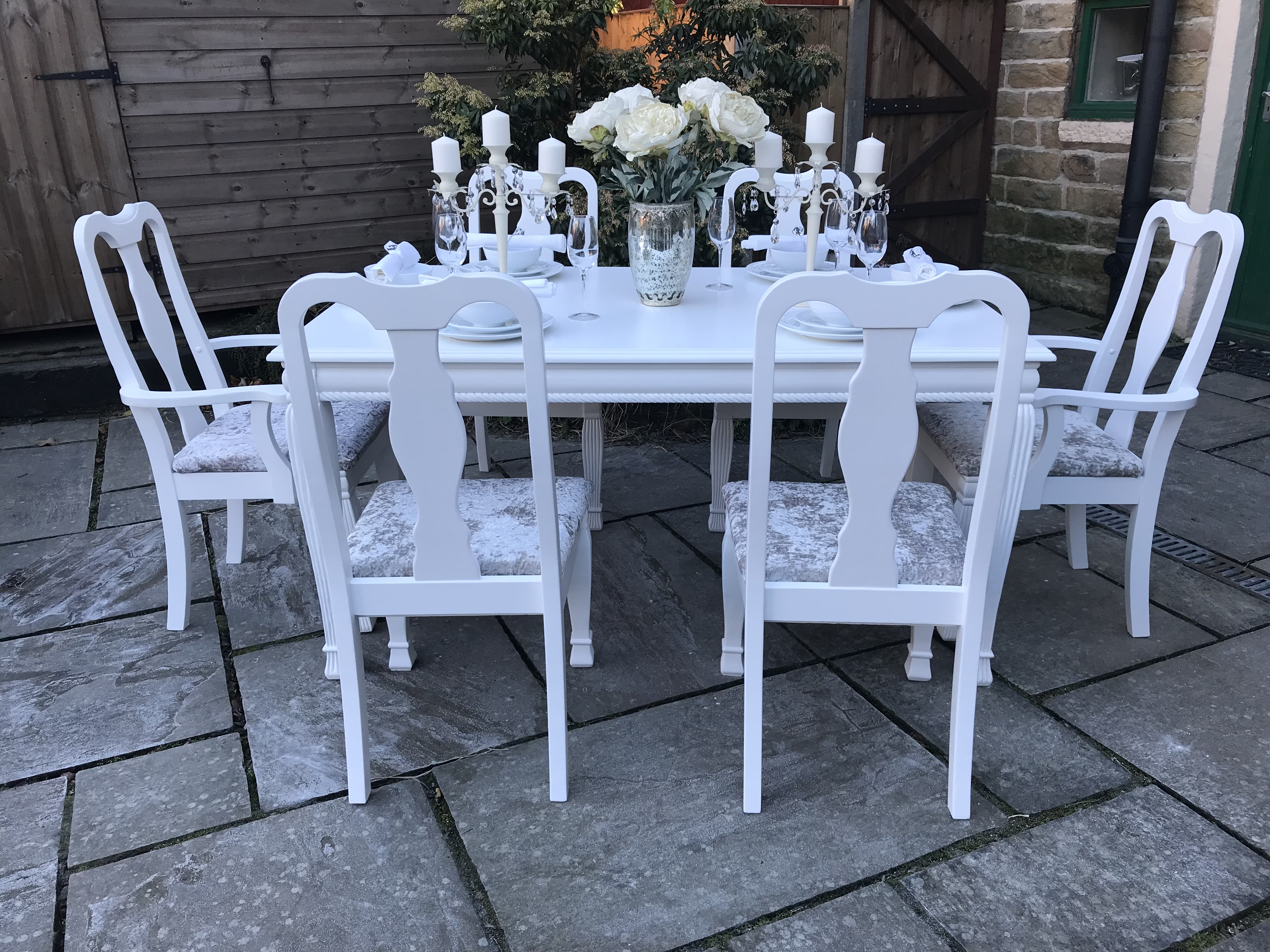 Dining Table & 6 Queen Anne Chairs