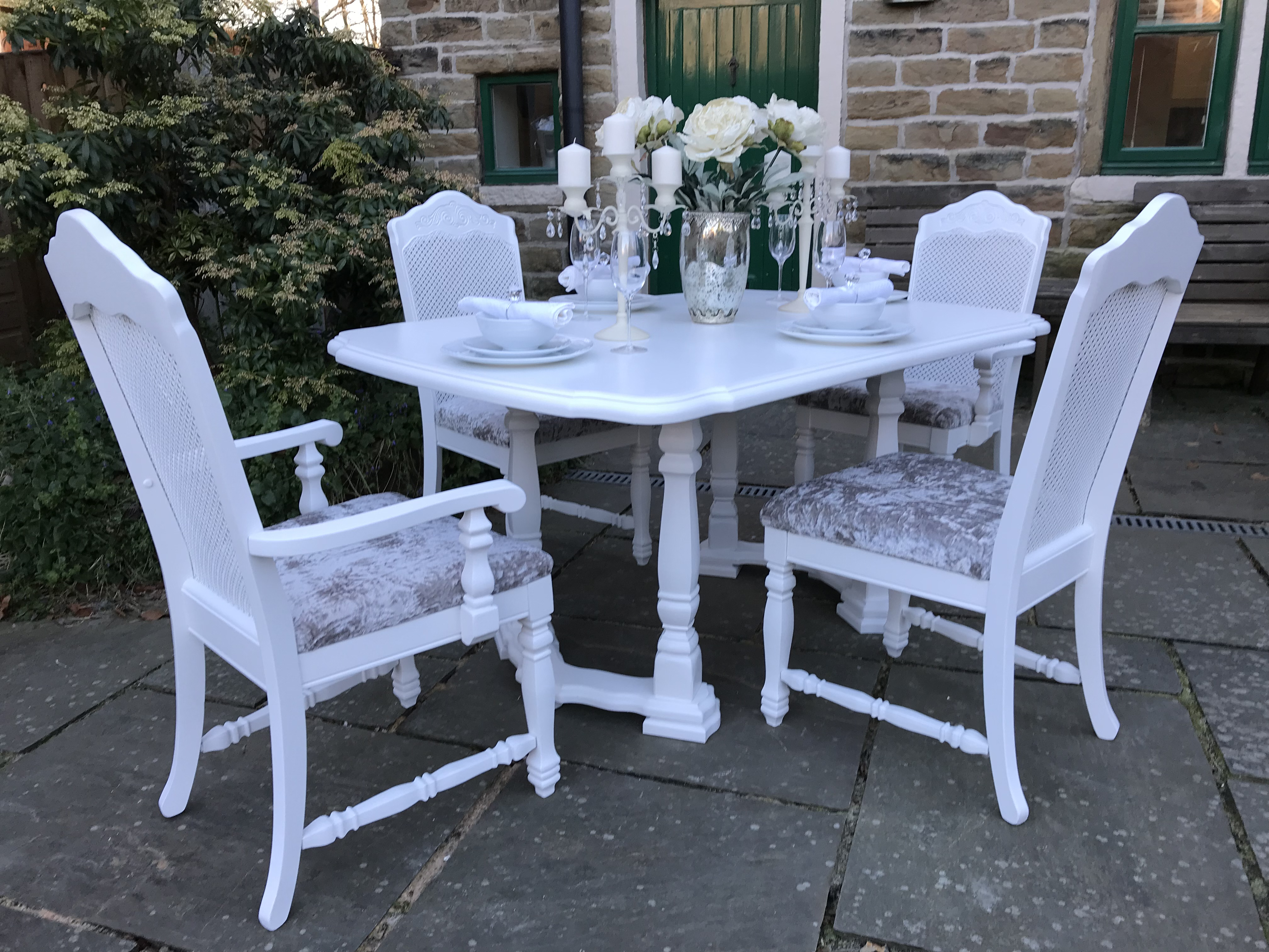 Bergere Double Extending Dining Set with Silver Crushed Velvet Upholstered Seats