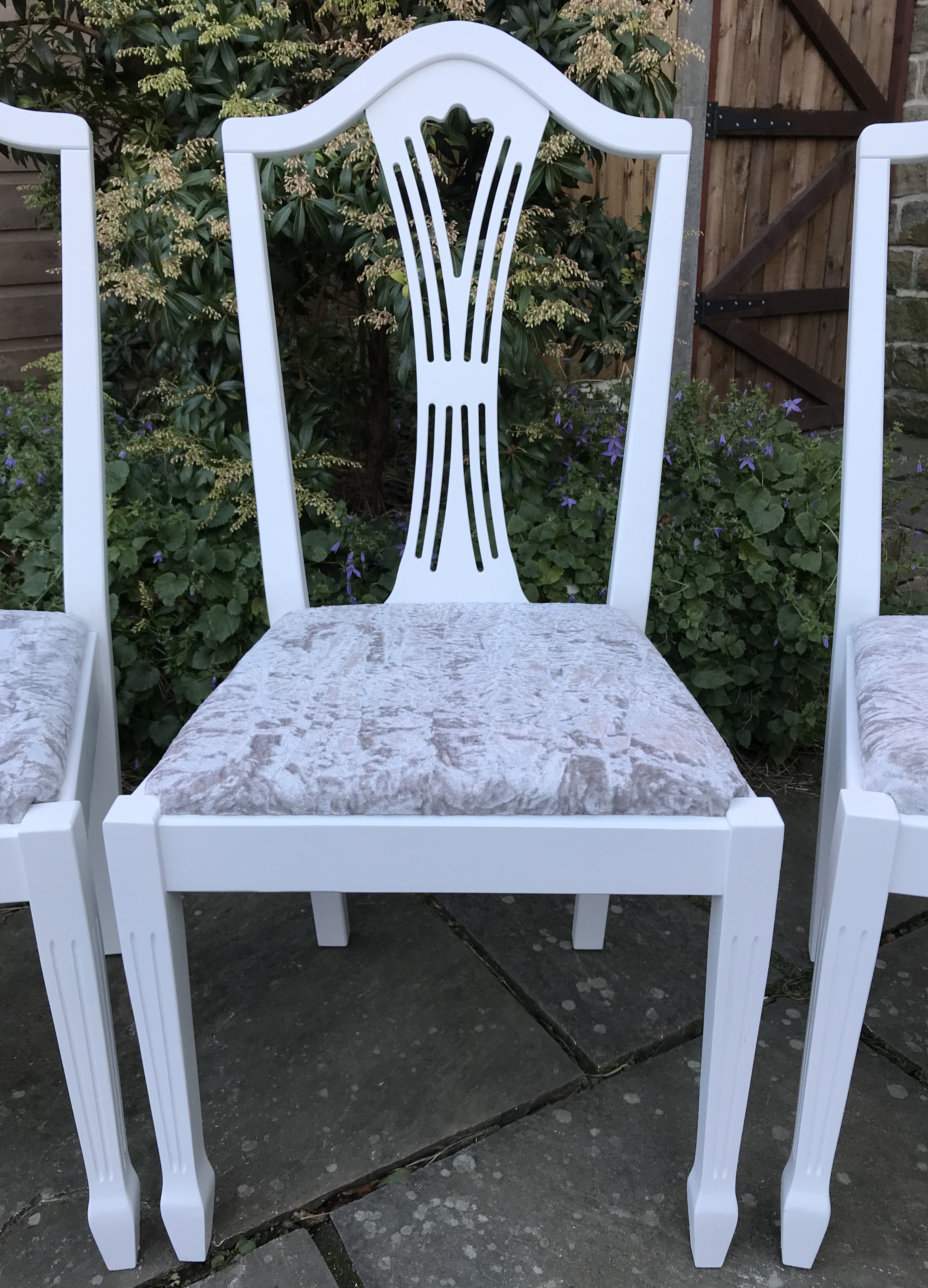 Extending Dining Table & 6 Chairs upholstered in Silver Crushed Velvet