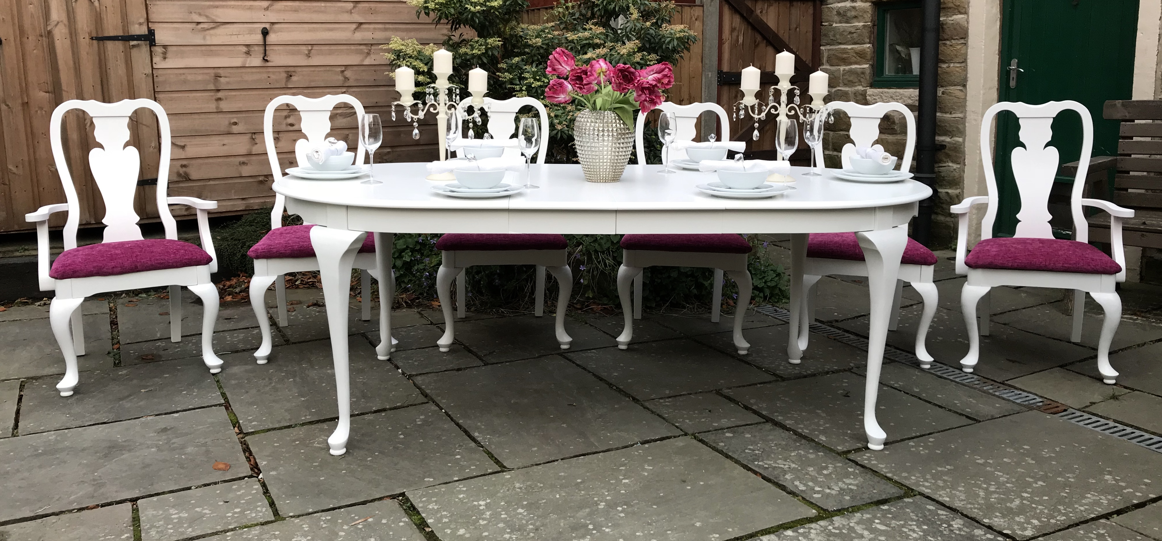 Statement Piece Dining Set ~ White & Rasberry