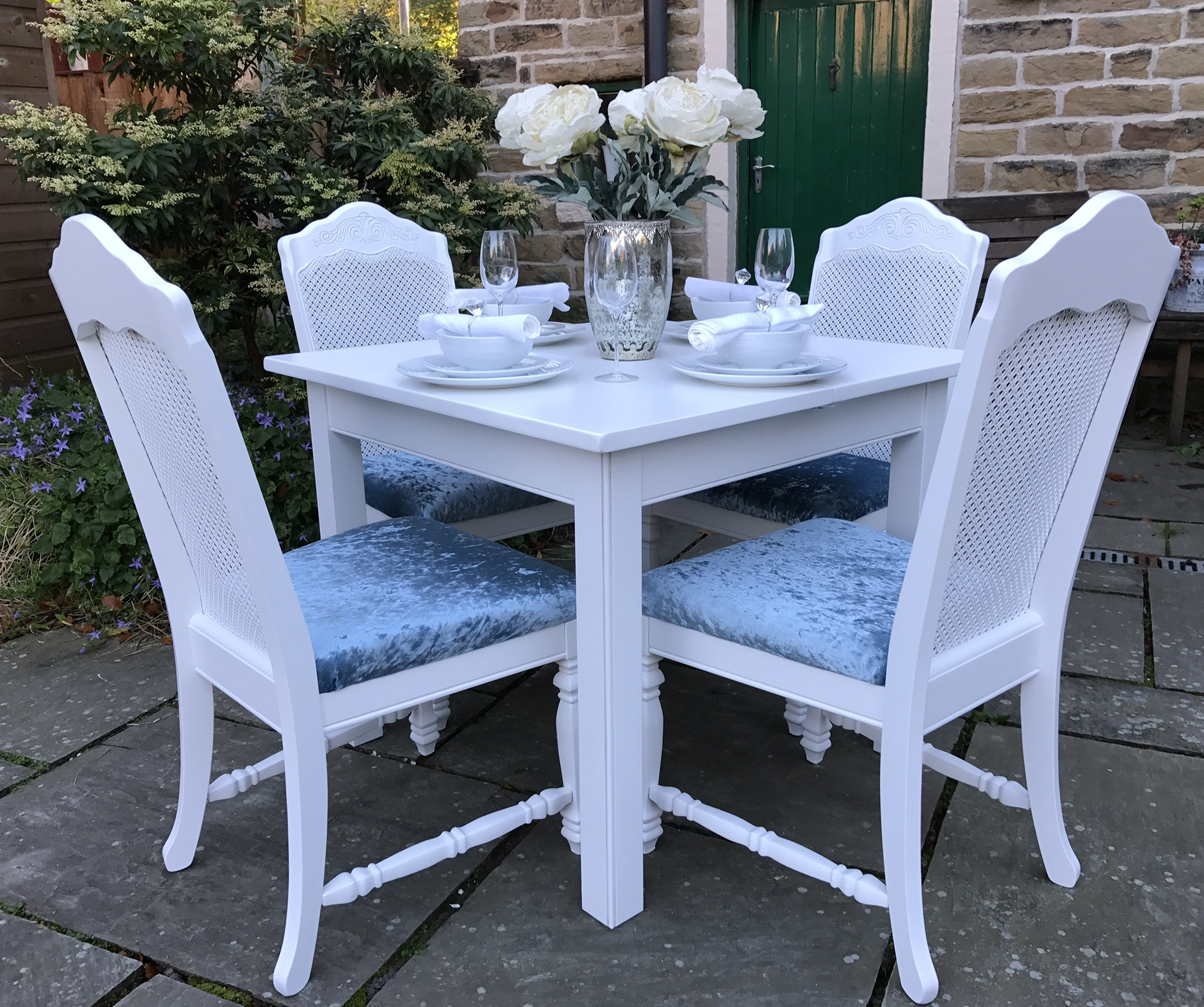 Dining Table & 4 Bergere Chairs