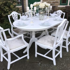 Extending Dining Table & 6 Wheatsheaf Chairs