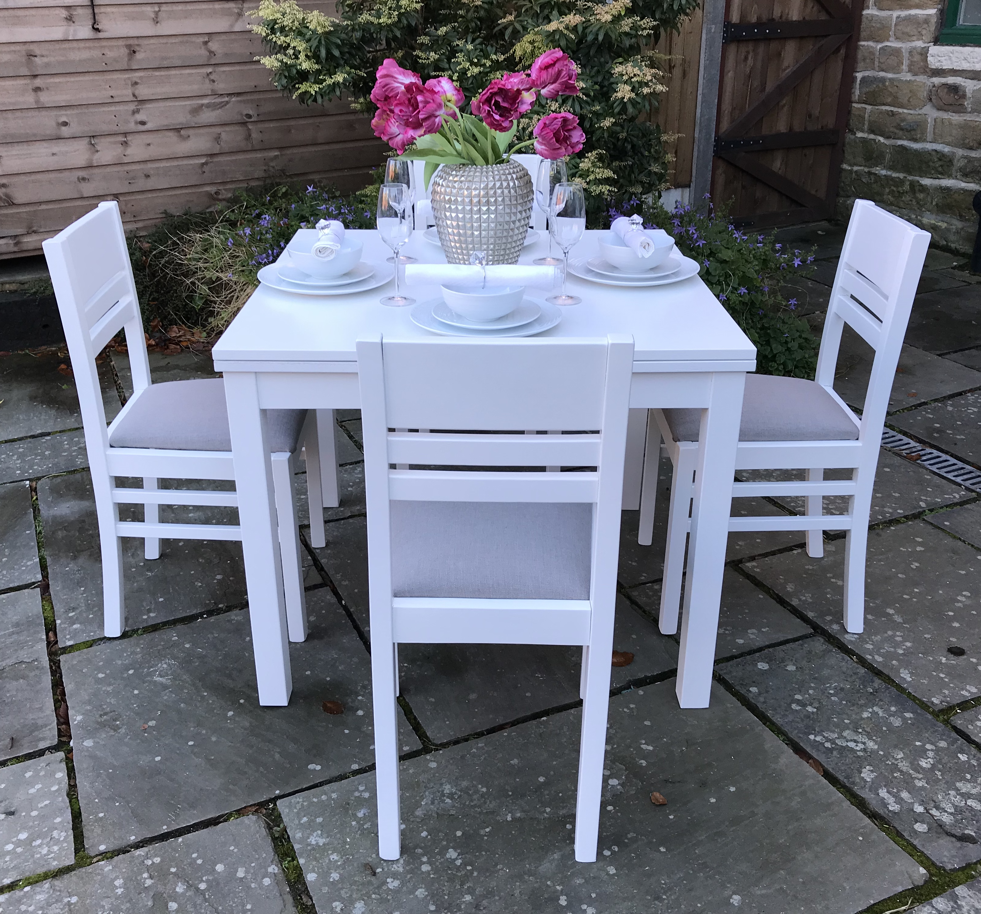 Square Dining Set ~ Grey & White