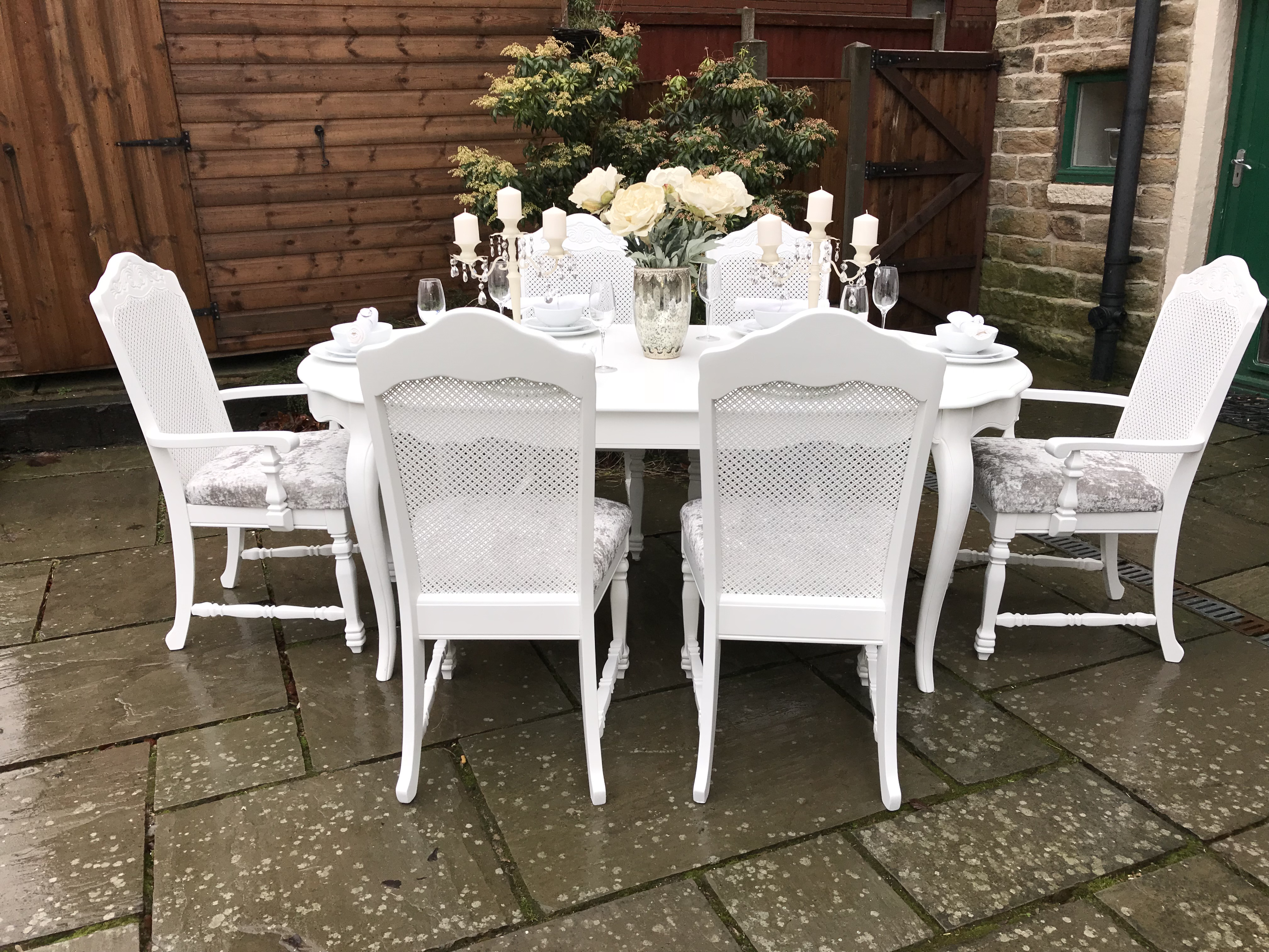 French Chic Bergere Dining Table & 6 Chairs