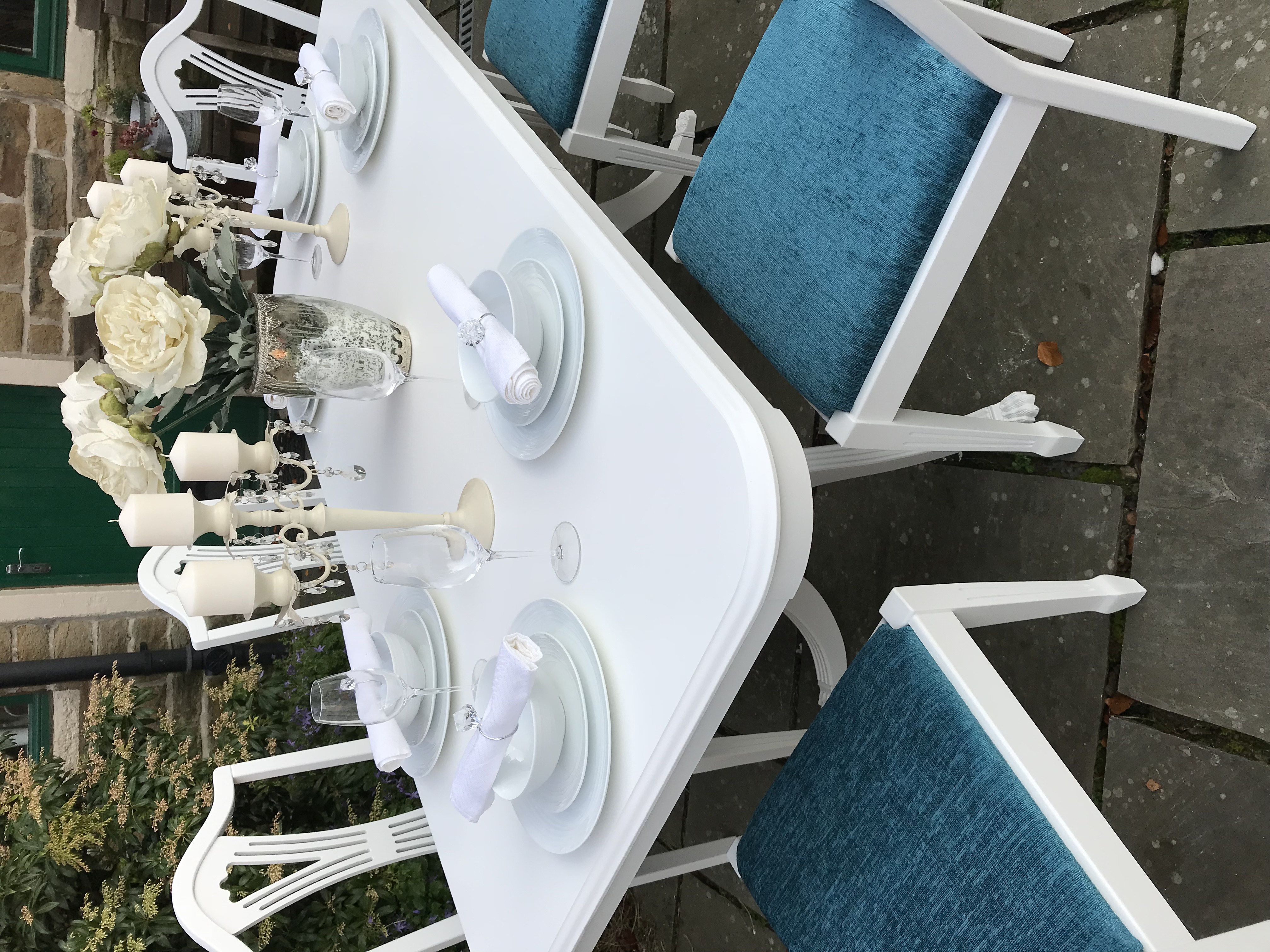 Vintage Dining Table & 6 Teal Upholstered Chairs