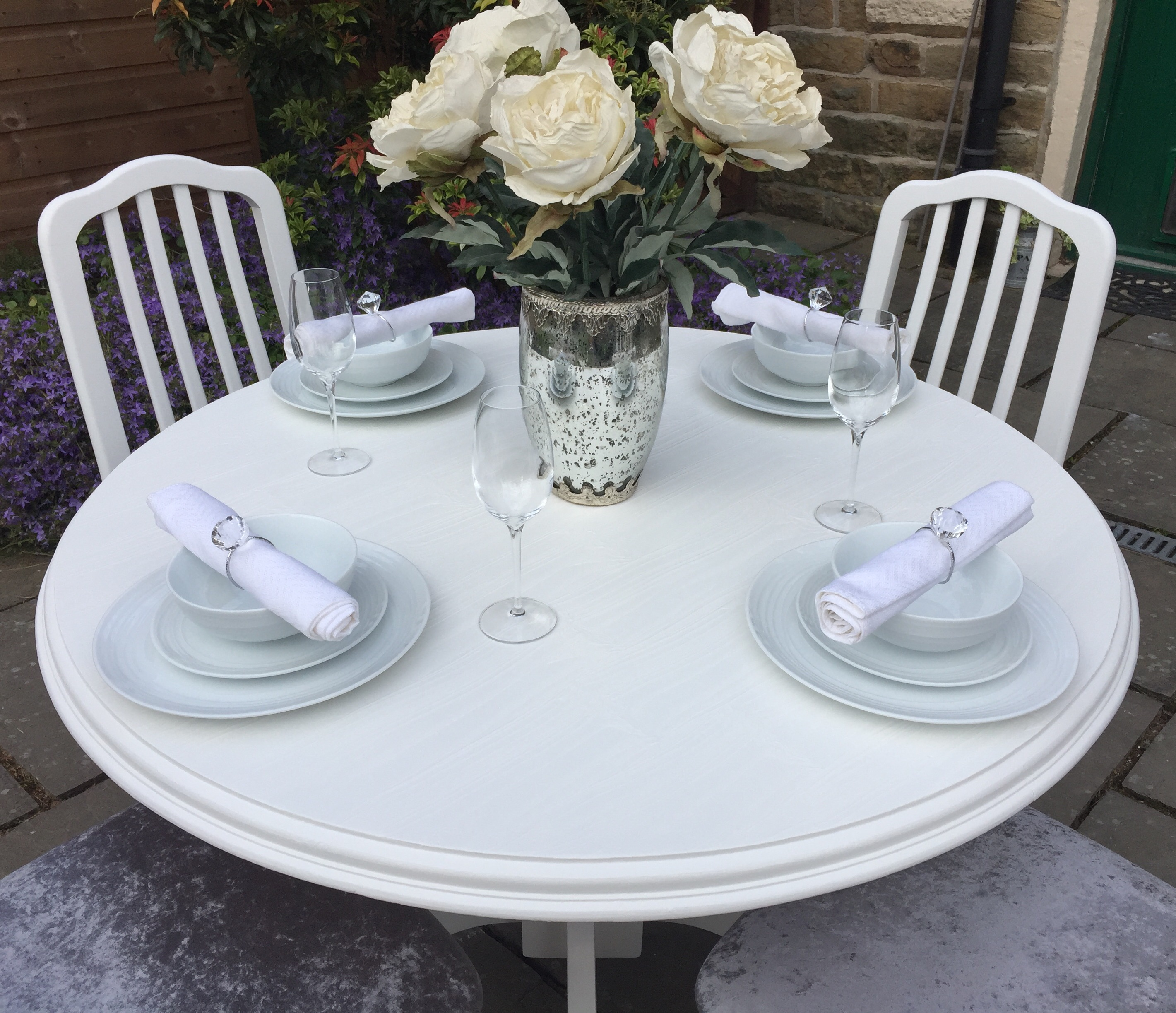 Vintage Round Dining Table & 4 Chairs