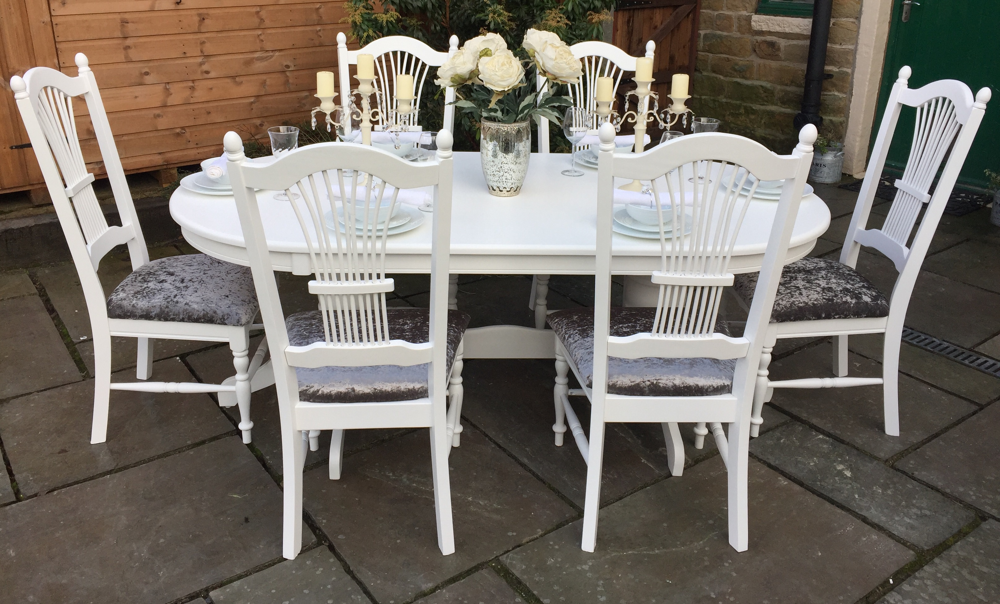 White Dining Table & 6 Grey Upholstered Chairs