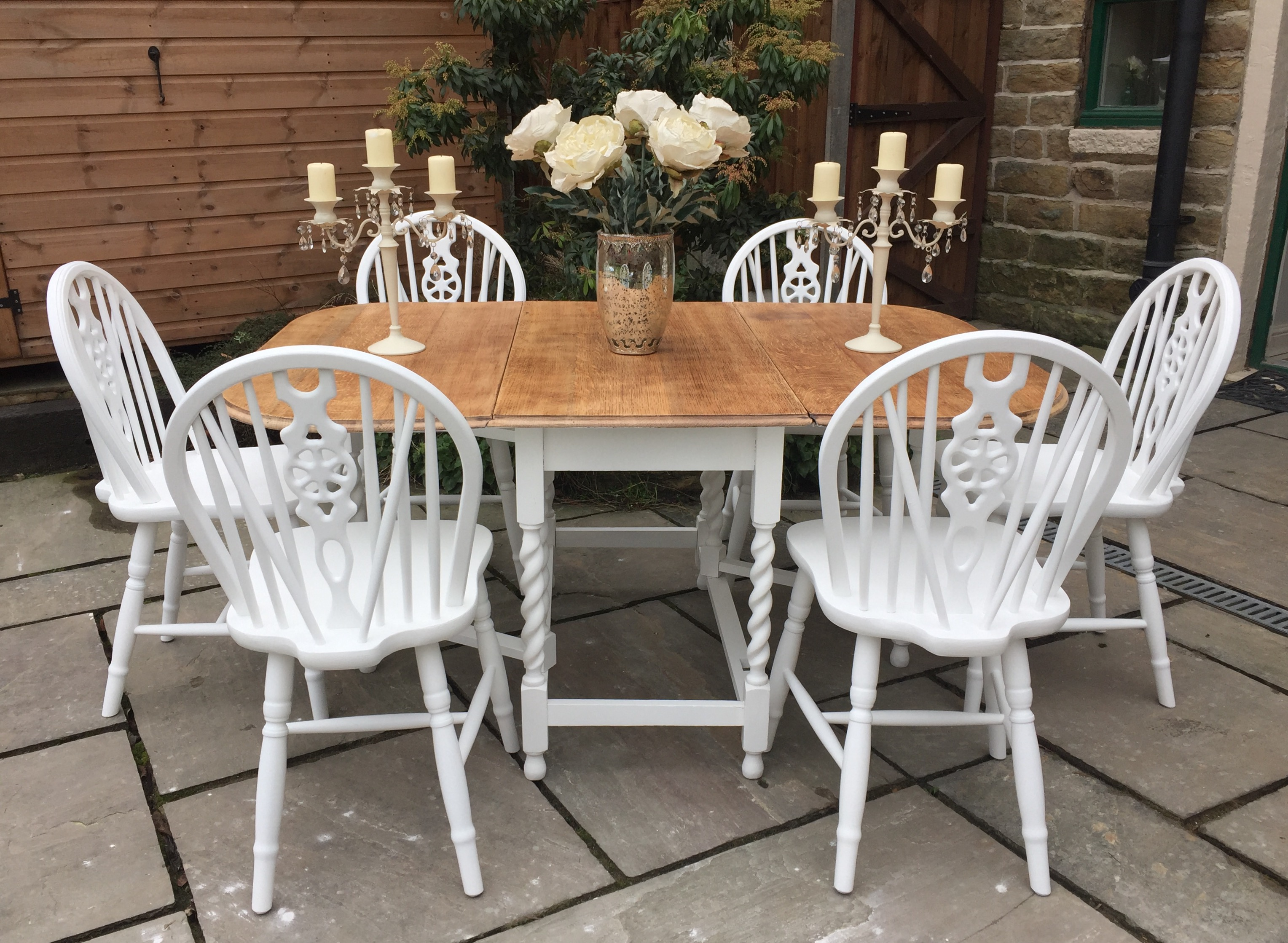 Vintage Drop Leaf Dining Table 6 Chairs Shabby Chick Vintage Superior Furniture Restoration And Refurbishment Rochdale Manchester Lancashire North West