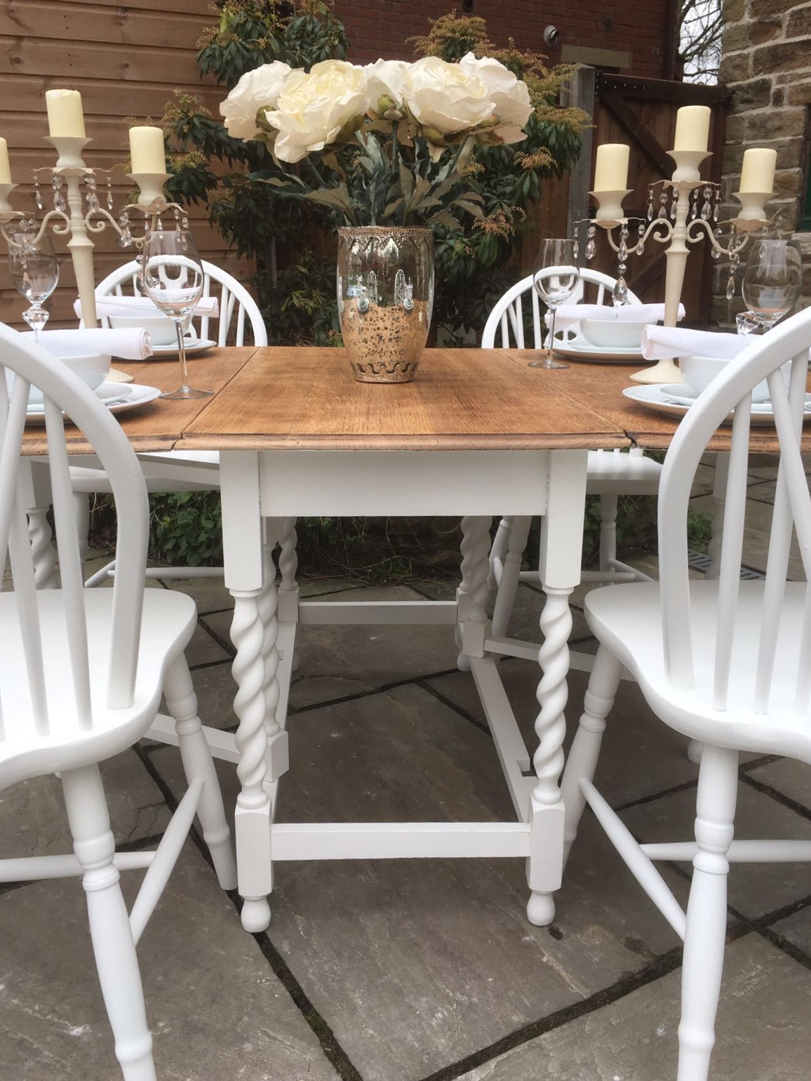 Vintage Drop Leaf Dining Table & 6 Chairs