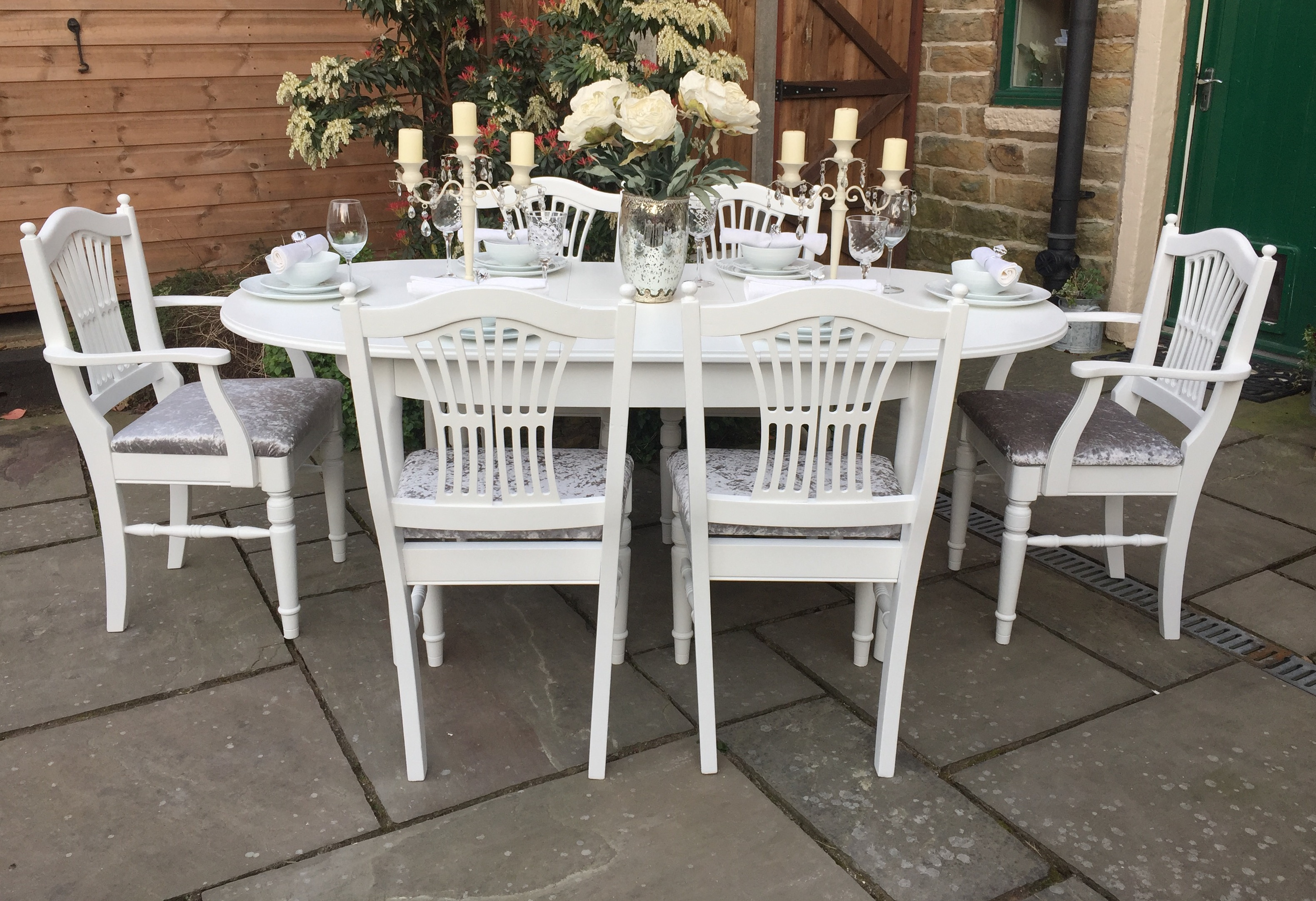 Extending Dining Table & 6 Ducal Chairs