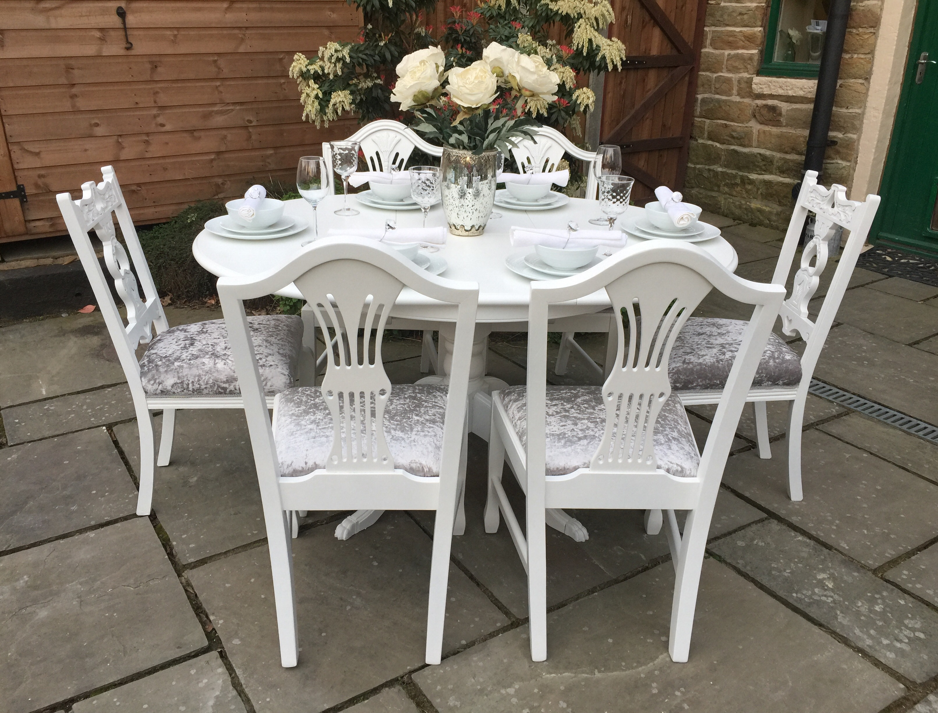 White Round Dining Table & 4 Chairs