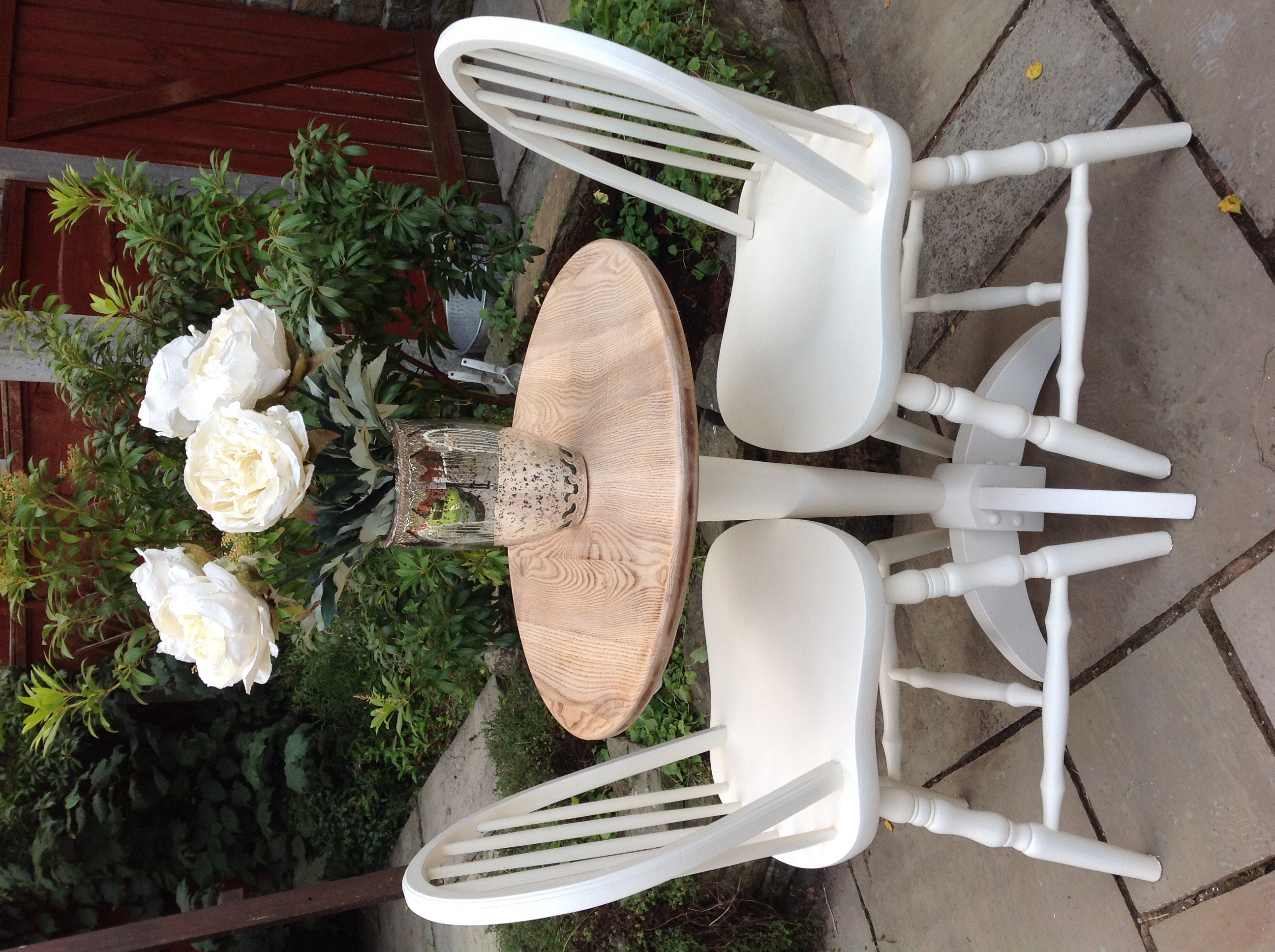 Shabby Chic Round Oak Dining Table Amp 2 White Cottage